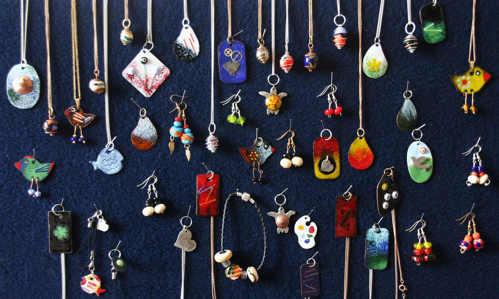 necklaces and ear rings and other hand crafted jewellery